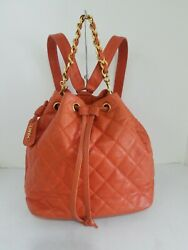 CHANEL backpack authentic two ways strap orange caviar leather w gold hardware $2497.00