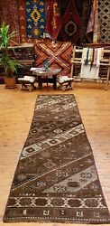 Late 1940and039s Antique Wool Pilegeometric Patterned Vegy Dye Armenian Rug 3x10ft