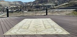 Beautiful Antique Cr1900-1939and039s Muted Natural Dye Oushak Area Rug 6and0397andtimes10and039