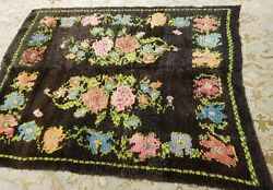 Antique Wool Pile Natural Dye Transylvania-romanian Shaggy Area Rug 5and039x5and0399