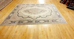 Antique Cr1930-1949and039s Natural Dye Distressed Wool Pile Oushak Area Rug 8x11ft