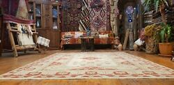 Beautiful Antique Cr1940-1959and039s Muted Natural Dye Oushak Area Rug 6and0397andtimes9and039