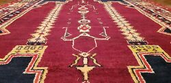 Exquisite Antique 1940-1950and039s Vegy Dye Wool Pile Tribal Area Rug 4and0397andtimes8and0396