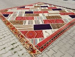 Exquisite 1950-1960s Wool Pile Natural Color Tribal Patchwork Rug 13x13ft