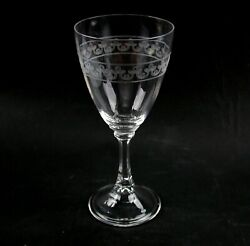 Genuine Heisey 10 Ounce Wabash Goblet Glass With Trefoil Needle Etching