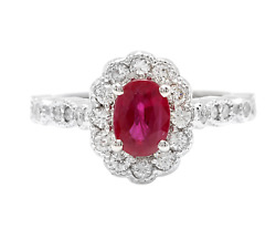 1.60 Carats Natural Red Ruby And Diamond 14k Solid White Gold Ring