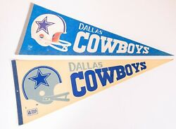 Dallas Cowboys Vintage Pennant Lot 1970s Double Bar X2 White And Blue