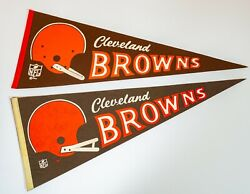 Cleveland Browns Vintage Pennant Lot X2 Single Bar Double Bar 1960s / 70s Full