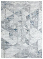 Blue Diagonals Faded Prisms Shaded Contemporary Area Rug Geometric 4525 10261