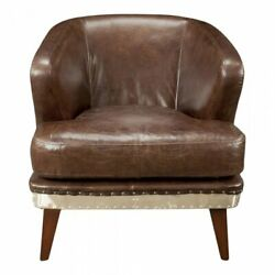 Moeand039s Preston Metal And Leather Club Chair In Brown