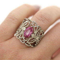 3.5 Ctw Natural Pink Sapphire And Diamond Solid 14k White Gold Wide Cocktail Ring