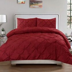 Burgundy Pinch Pleated Duvet Set With Zipper And Corner Ties Cotton 800 Tc