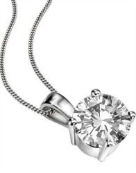 18carat Gold Round Solitaire Diamond Pendant 0.25cts G/si With Chain