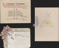 Vintage Easter Card Pierced Flowers + Later Card And Devout Xmas Card Qy1140