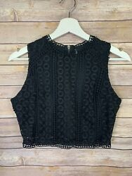 Womens Lace Overlay Blouse Cropped Sleeveless Top Boho Hippie Small?