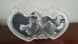 Mikasa Rosemont Double Heart Photo Picture Glass Frame Sa692/836 With Box