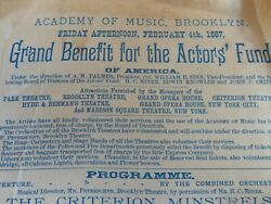 New York Theatre History - Actors Charity Minstrel Performers Thespian 1887