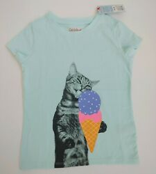 Cat And Jack Girls T Shirt Blue Kitty Cat Licking Ice Cream Cone Size XS 45  $7.17