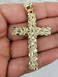 Big Nugget Charm Cross Pendant Sterling Silver 14k Yellow Gold Over For Gift $183.29