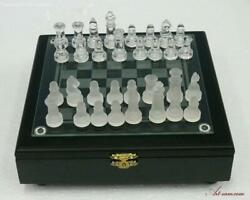 Glass Staunton Chess And Checker Set With Clear And Frosted Pieces