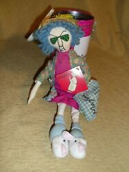 Maxine 14 Doll Don't Worry Be Crabby Flowered Jacket Rabbit Slippers W/ Tin