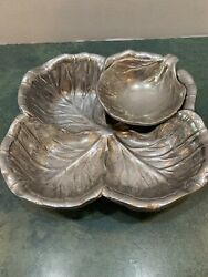 Wilton Cabbage Leaf Salad Bowl With Condiment Leaf Bowl Great Condition