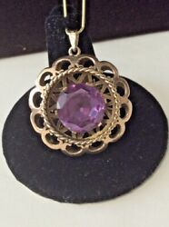 Estate Retro Jewelry 14mm Round Synthetic Alexandrite Pendent 14k Yellow Gold