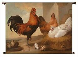 Rooster And Chicken Painting Picture On Canvas Hung On Copper Rod Ready To Hang