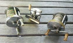 Lot Of 3 Vintage Fishing Reels - Arbeco 40 Shakespeare Triumph Bronson Flyer
