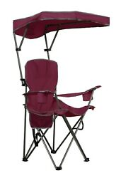 Folding Camp Chair Portable Lounge Chair Sun Shade Canopy Outdoor Camping Beach