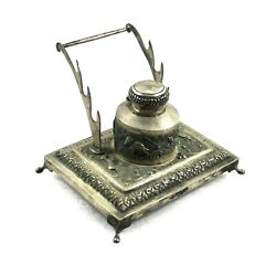 Antique Ink Pot Pen Stand Silver Hand Carved Engraved Old Vintage Collectible