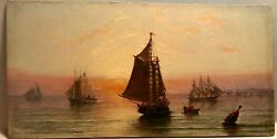 19th C Off Minot's Ledge Ma Ship Boat Lighthouse James G. Tyler O/b Painting