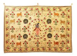 Pichwai Wall Hanging Embroidered Thread Work Krishna Cow Vintage India Us344wh