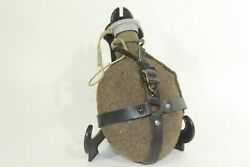 Vtg Czech Military Surplus Wool Covered Canteen Leather Straps Pull Off Cap
