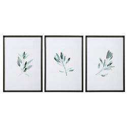 Large Sage Herb Watercolor Print Set 3 Green White Wall Art Framed Farmhouse