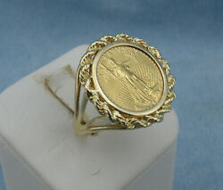 1995 5 1/10oz Gold American Eagle Coin Ring, Size8, 14k Gold Mount