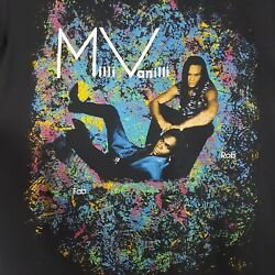 Vtg 90s Milli Vanilli T-Shirt M Black Double Sided Concert Tour Tee Fab Rob USA