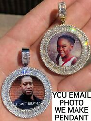 Solid 925 Silver Custom HipHop Photo Pendant Iced Memory Medallion Gold Baguette $97.70