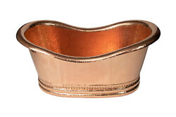 30x18 Oval Single Bowl Tub Shaped Hammered Copper Cooler W/ Shiny Finish