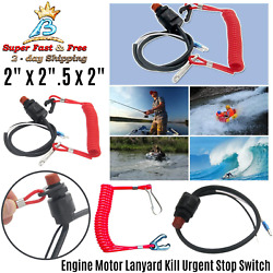 Universal Boat Safety Tether Lanyard Outboard Engine Motor Kill Stop Switch New