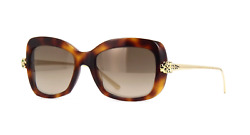 Cartier Women Sunglasses CCT0215S-002-PANTHERE Havana  Brown Gradient Mirrored