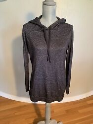 New For The Republic Denim Charcoal Gray Black Pullover Hoodie Tunic Wms Small