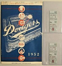 1952 Brooklyn Dodgers Official Program Score Card And Tickets Dod V. Chi Cubs-2565
