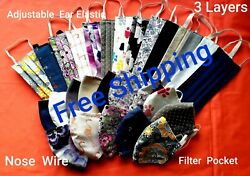 Custom Face Mask 100% Cotton Triple Layers WashableReusable With Filter Slot $7.99