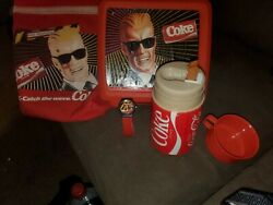 Vintage Max Headroom Coca-cola Lunchbox Thermos And Cup,watch Vintage Coke Bag Lot