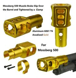 Tactical Mossberg 500 Slip Over Clamp Muzzle Brake 2/3 Up Recoil Reduced Gold