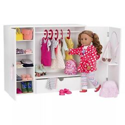Our Generation Wooden Wardrobe - Closet For 18 Dolls - Free Shipping And Return