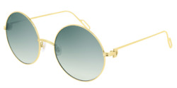 Cartier Women Sunglasses CT0156S-005-PREMIERE Shiny Gold  Light Green Gradient