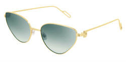 Cartier Women Sunglasses CT0155S-005-PREMIERE Shiny Gold  Green Gradient Lenses