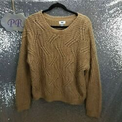 Old Navy Lofty Cable Knit Sweater Camel Tan Wool Blend Women Size XL
